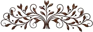 Deco 79 63005 Metal Leaf Wall Decor, 47 by 15-Inch, Brown