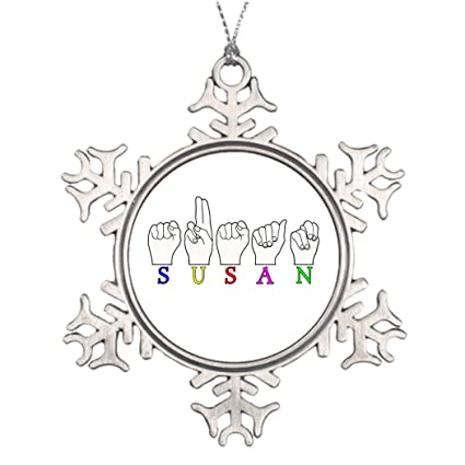 personalised christmas tree decoration susan name asl fingerspelled sign snowflake ornaments asl - Asl Christmas