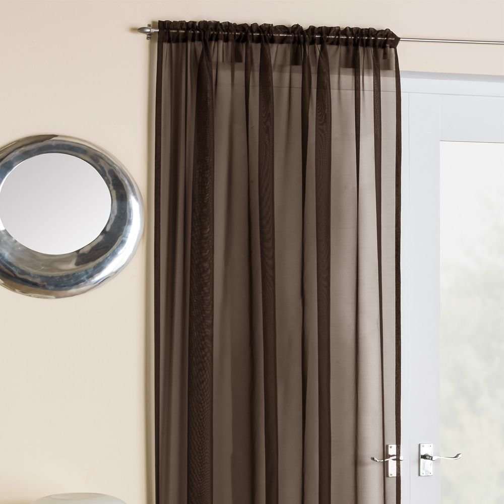 Voile curtain panel brown cheap green curtain voile uk delivery - Slot Top Voile Panel Chocolate Brown 59 Wide X 90 Drop Amazon Co Uk Kitchen Home