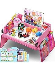 lenbest Travel Tray, Indoor & Outdoor Learning Educatief speelgoed Play Tray Lap Desk met Dry Erase Top - 6 pennen en 5 tekenpapier - Multifunctioneel activiteitenblad voor kinderen Peuters Boys Girls (roze)