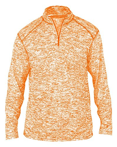Badger Men's Sports Double-Needle Blend 1/4 Zip Jacket, Large, Burnt Orange Blend