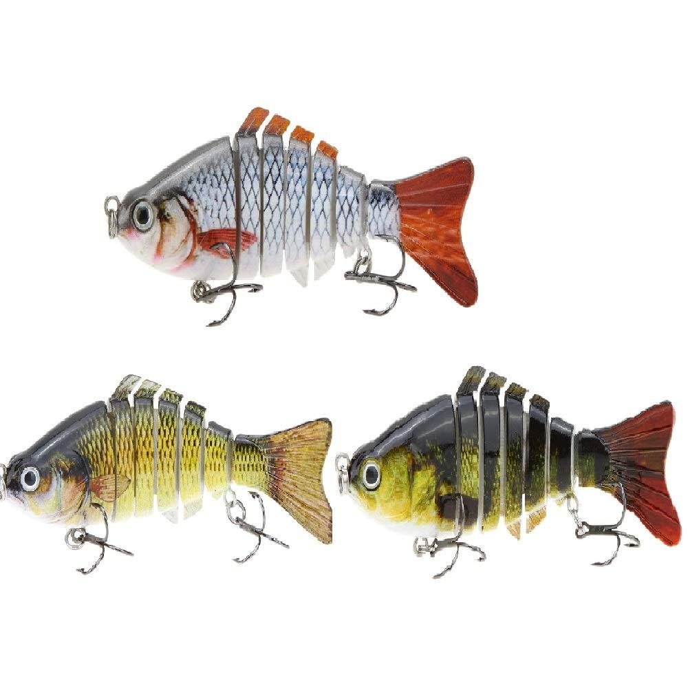 Lixada 10cm/4'' 15.5g Bionic Multi Jointed Fishing Lure Sun-Fish Lifelike Hard Bait Bass Yellow Perch Walleye Pike Muskie Roach Trout Swimbait (Style 1-3-4)