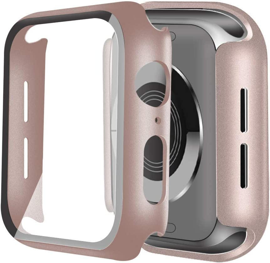 ONMROAD Hard Case Compatible with Apple Watch 38mm PC Bumper Case with Built-in Tempered Glass Screen Protector, Ultra-Thin Full Coverage High Definition Cover for iwatch Series 5 4 3 2 1 rose pink