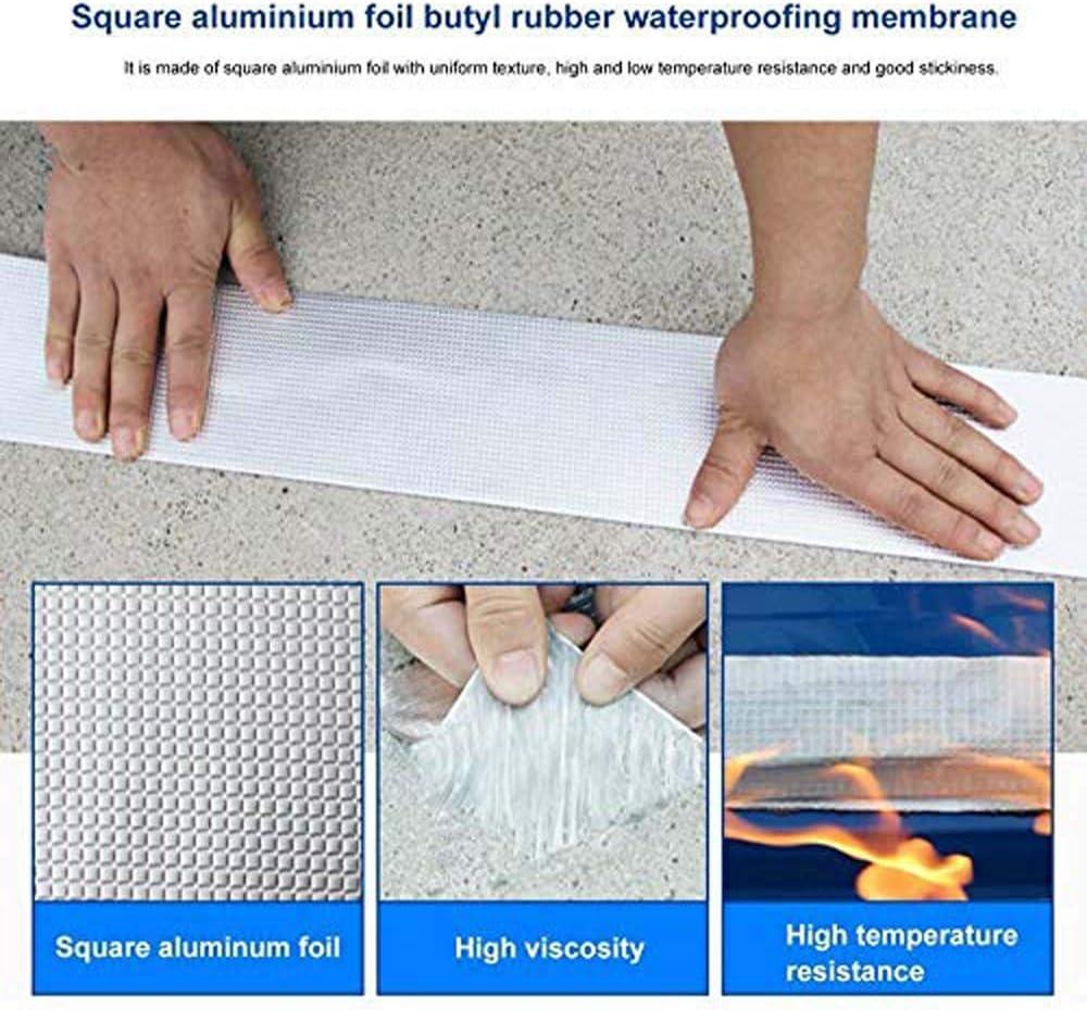 10cm*10m Super Waterproof Tape Butyl Rubber Aluminium Foil Tape,Waterproof Duct Tape Super Repair Crack Thicken Butyl Waterproof Tape Home Renovation Tools