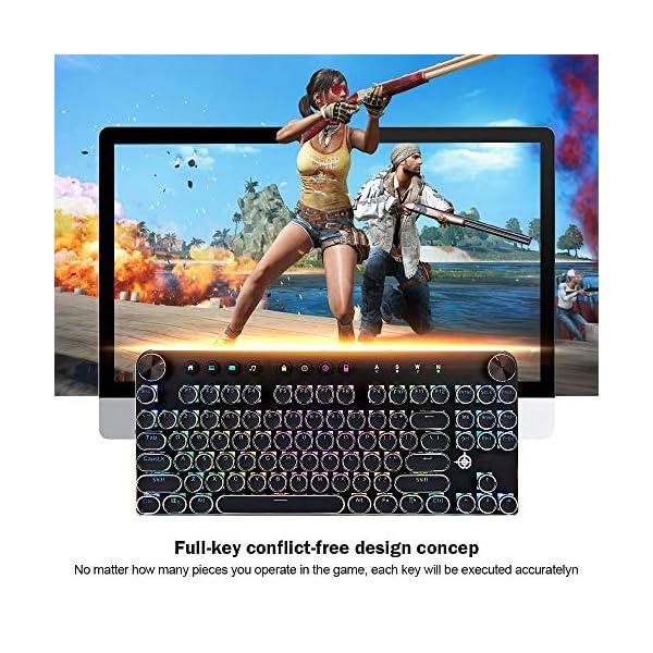 Mechanical Gaming Keyboard,GEEKLIN Backlit 87 Key Mechanical Computer Keyboard with USB,Wired Keyboard for Windows PC Gamers Black