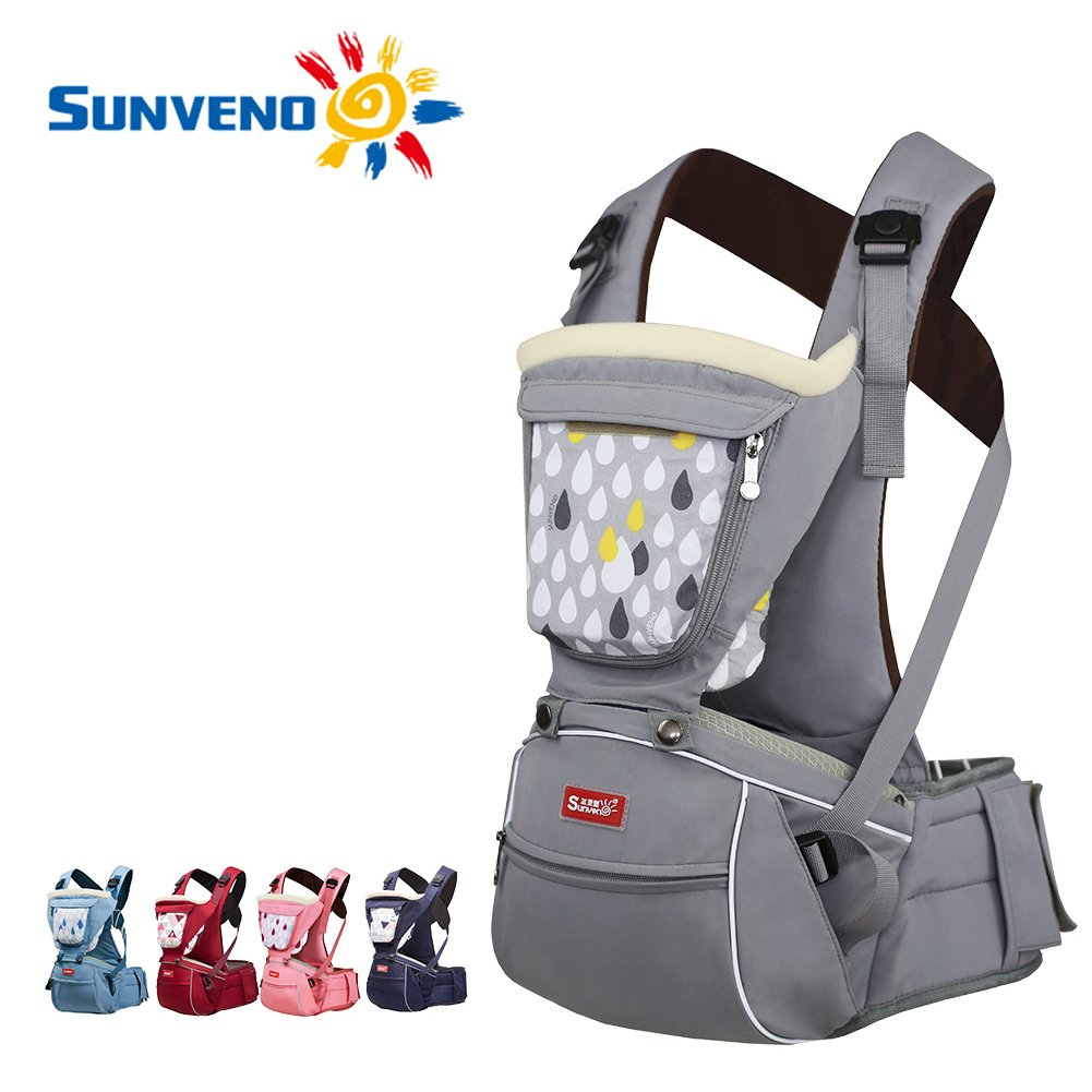 SUNVENO Baby Hipseat Carrier 2in1 Comfort Ergonomic Waist Stool Baby Carrier Hip Seat (Gray) HC12132-Gray