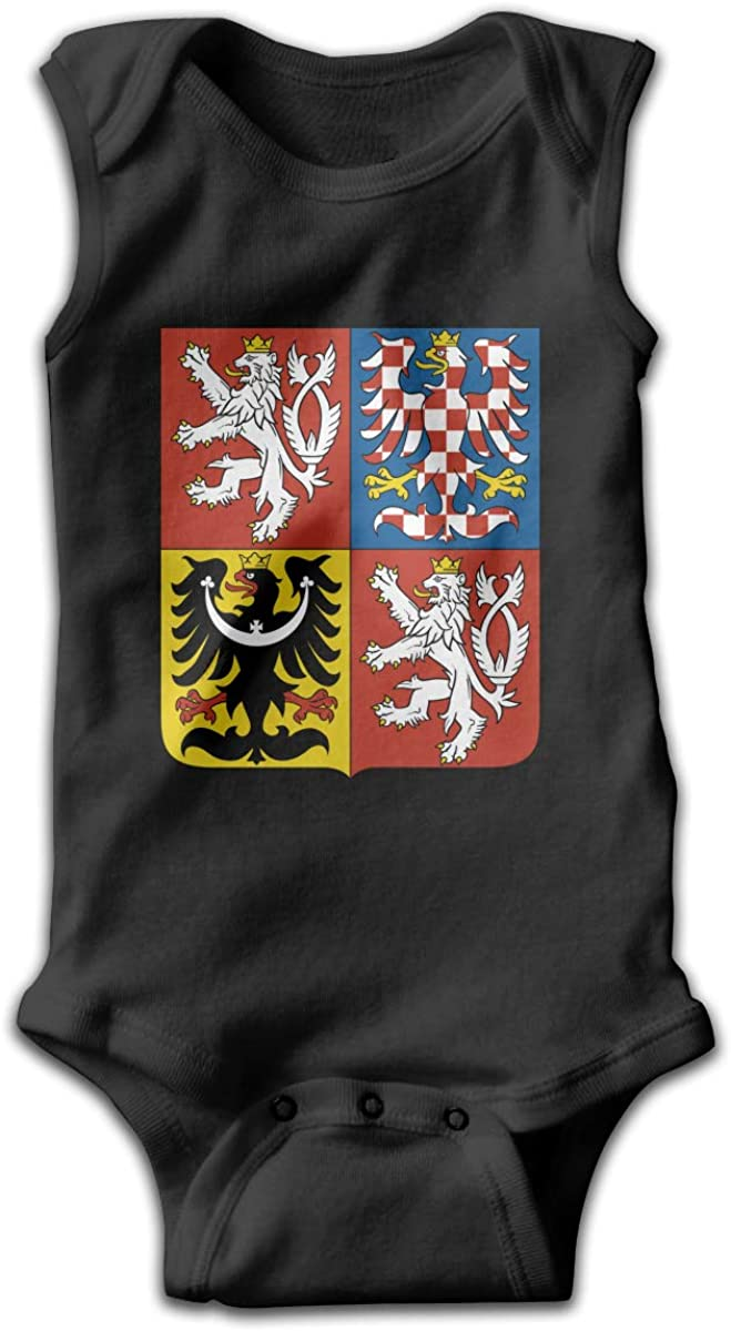 UyGFYytg Coat of Arms of The Czech Republic Baby Newborn Crawling Suit Sleeveless Onesie Romper Jumpsuit Black