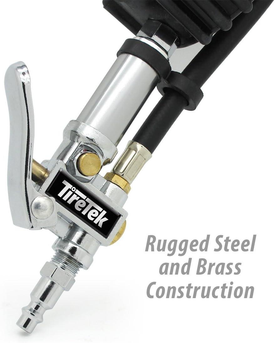 TireTek TXL-Pro Heavy Duty Tire Pressure Inflator Gauge Lock On Chuck Free Bonus Quick-Connect air Hose Plug