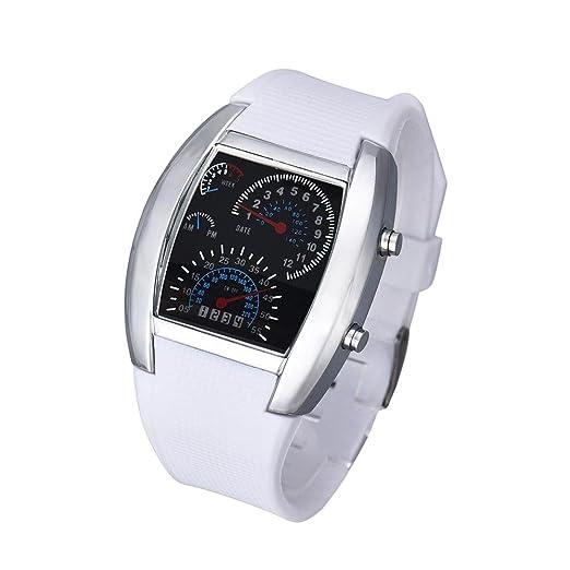 Hot Sal.firally Moda Hombre y Mujer aviación Turbo Esfera con Flash LED Reloj Regalo Deportivo Coche Forma wristwatches Relojes de Pulsera Relojes de Mujer ...
