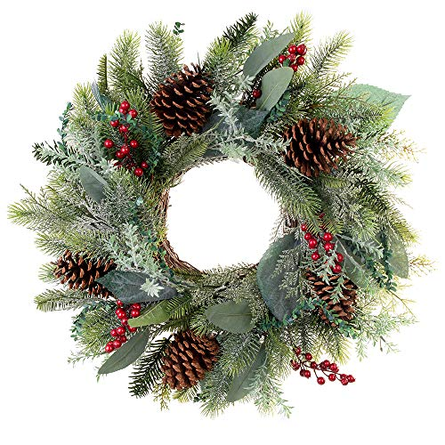 VILLAGE LIGHTING COMPANY [24 Inch Artificial Christmas Wreath] - Winter Frost Collection - Natural Decoration consisting of Pinecones, Red Berries, Frosted Foliage, and Miscellaneous Greenery