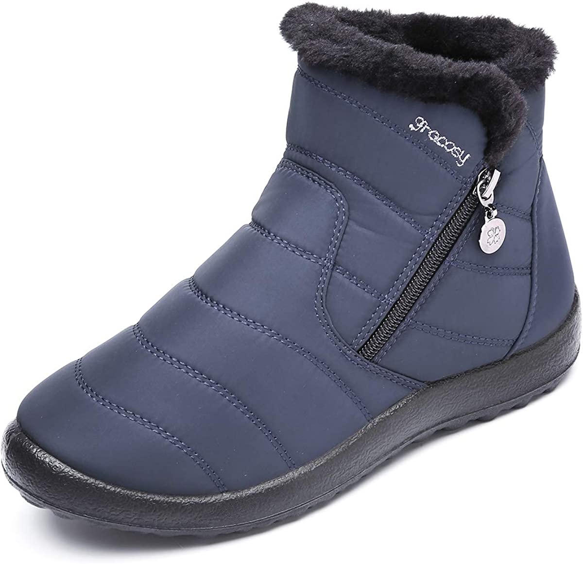 Winter Women Warm Snow Boots Shoes Fur-lined Slip On Ankle Shoes Waterproof