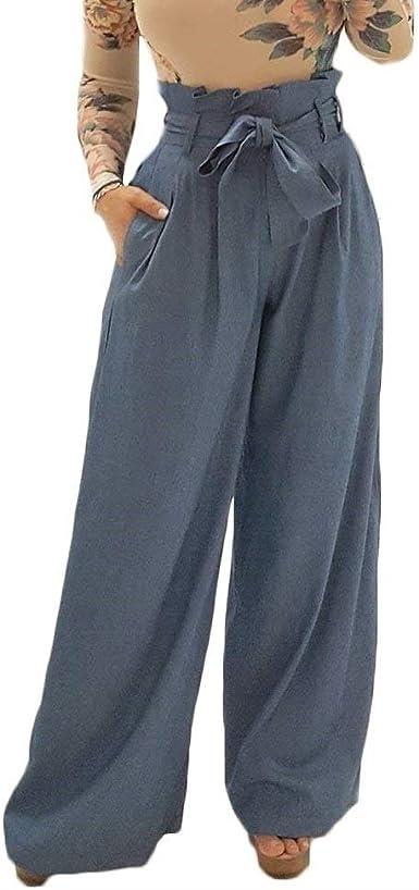 Bolawoo Primavera Otono Elegantes Pantalones De Tela Mujer Con Cinturon Con Bolsillos Mode De Marca Color Solido Pantalones Baggy Largos Pantalones De Hipster Joven Pantalones Anchos Estilo Moderno Amazon Es Ropa Y Accesorios
