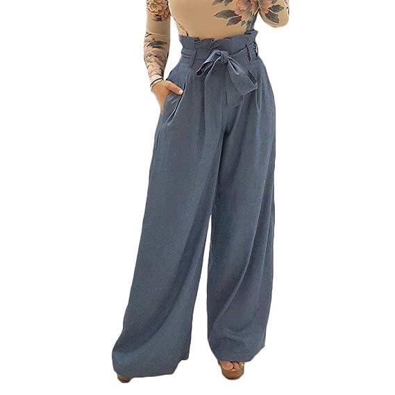 BOLAWOO Primavera Otoño Elegantes Pantalones De Tela Mujer con Cinturón con Bolsillos  Mode De Marca Color Sólido Pantalones Baggy Largos Pantalones De ... d037154b7bac