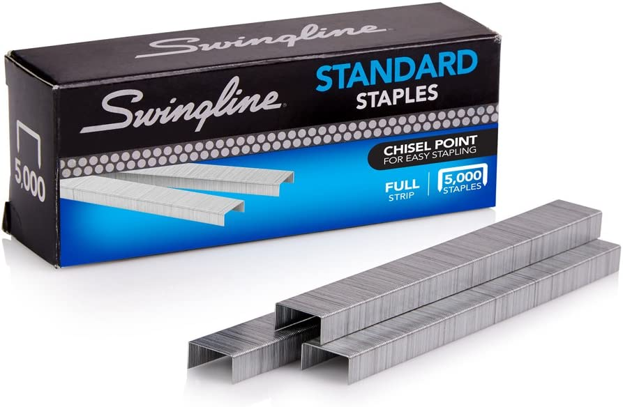 Swingline Staples, Standard, 1/4 inches Length, 210/Strip, 5000/Box, 1 Box (35108)