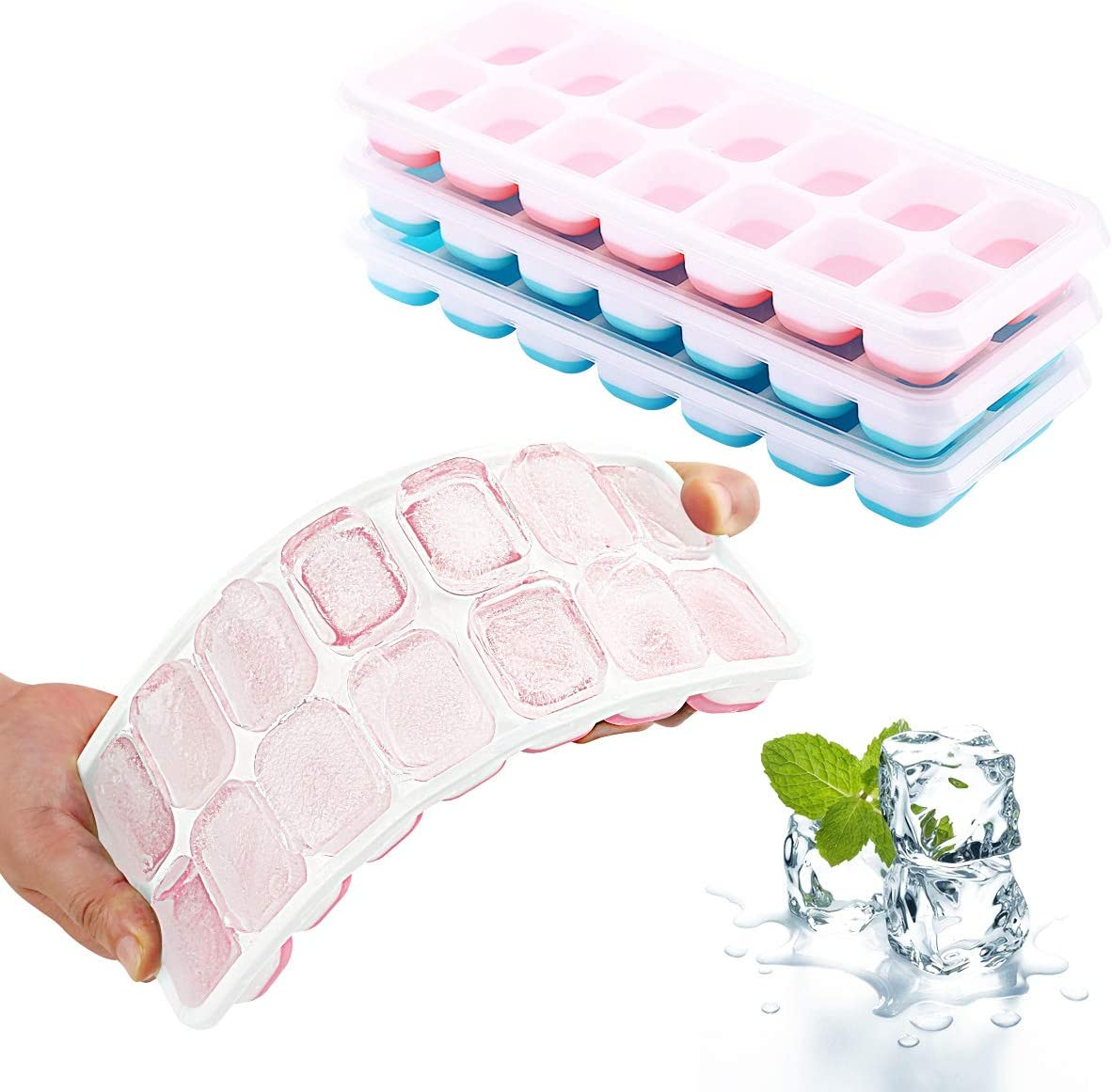 Ice Cube Trays 4 Pack, Stackable Silicone Ice Cube Tray, Easy Release 56-Nice-Sized Ice Cube Molds Maker, with 4 lids, BPA Free Flexible Durable Dishwasher Safe. By MERRYBOX. Blue+Pink