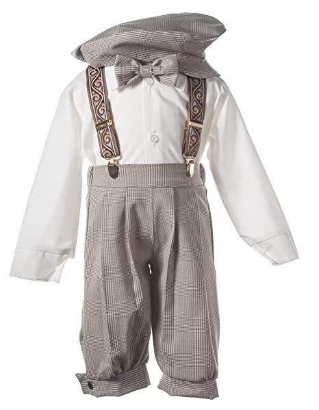 1920s Children Fashions: Girls, Boys, Baby Costumes Tuxgear Boys Tan Plaid Knickers With Paisley Suspenders In Baby Toddler & Boys Sizes $39.99 AT vintagedancer.com