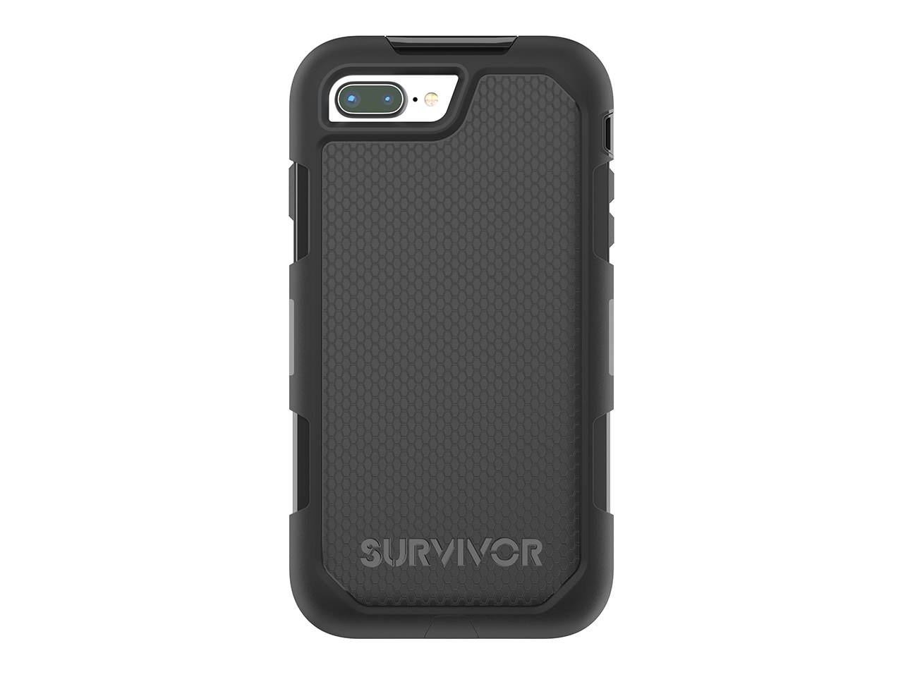 Griffin Survivor Extreme iPhone 8 Plus Rugged Case with Belt Clip - Impact Resistant Case with Holster, Black