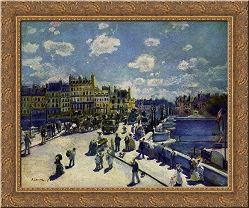Pont Neuf 24x20 Gold Ornate Wood Framed Canvas Art by Renoir, Pierre Auguste