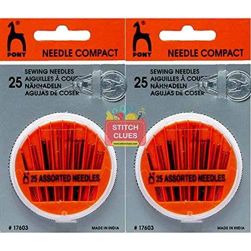 Stitch Clues Self Threading Hand Sewing Needles (50 Assorted Needles) with Compact Sew Case for Craft, Embroidery, Mending, Quilt, Stitching & Knitting + Max Supermarket 5% Savings Coupon
