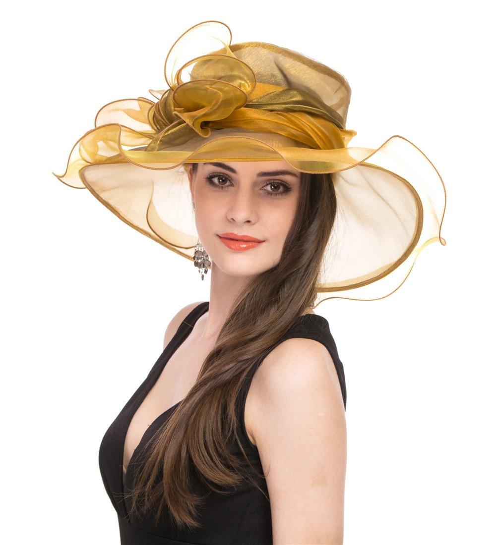 SAFERIN Women Wedding Dress Kentucky Derby Church Dress Organza Hat Wide Brim Flat Hat with Ruffled Bow Gold by SAFERIN (Image #5)