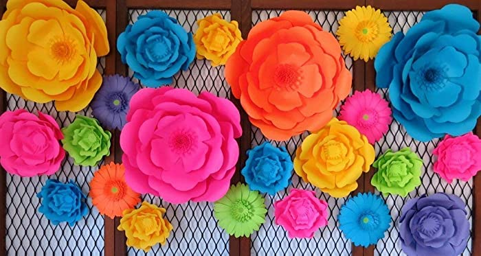 Amazon Com Set Of 22 Giant Paper Flowers Neon Color 6 16 Wall