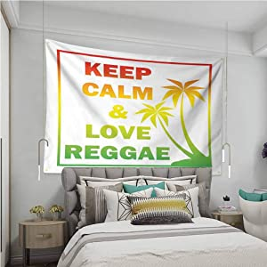 VVA Rasta Simple tapestryKeep Calm and Love Reggae Quote in Ombre Rainbow Colors Music Themed Ream Wall Decor Blanket for Bedroom Home Dorm,?Light Green Red and Yellow