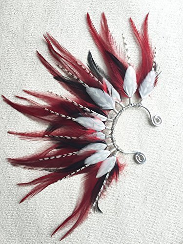 Mohawk Feather Ear Wrap/Cuff in Red, White, and Black