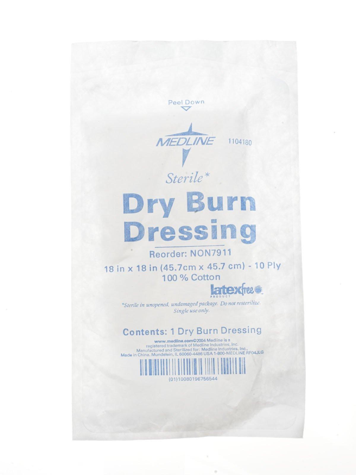 Medline NON7913 4-Ply Burn Dressing, Sterile, 18'' Length x 18'' Width (Pack of 40)