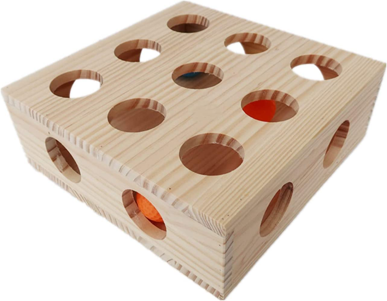Interactive Cat Toy Puzzle Box Wooden Treat Maze Scratcher Peek Play Toy Box Fun Interactive Cat Toy Fun Hide and Seek Cat Agility Toys