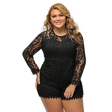 Amazoncom Richardy Womens Black Plus Size Long Sleeve Round Neck