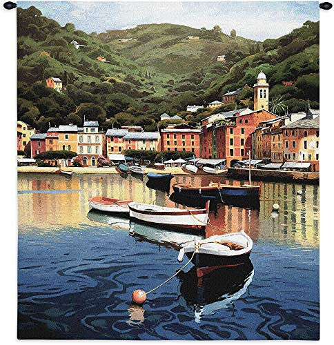 (Harbor at Last Light by Ramon Pujol | Woven Tapestry Wall Art Hanging | Peaceful Small Sailboats Anchored in Picturesque Harbor | 100% Cotton USA Size 53x50)