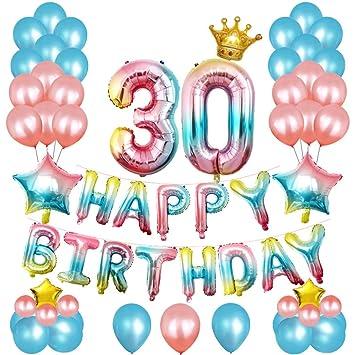 Amycute 67 pcs Decoracion Cumpleaños de 30 Años, Globos de ...