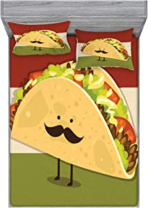 Ambesonne Food Fitted Sheet & Pillow Sham Set, Mexican Taco with Mustached Face Rolled with Veggies Humor Comic Childish Art, Decorative Printed 3 Piece Bedding Decor Set, Queen, Paprika Green