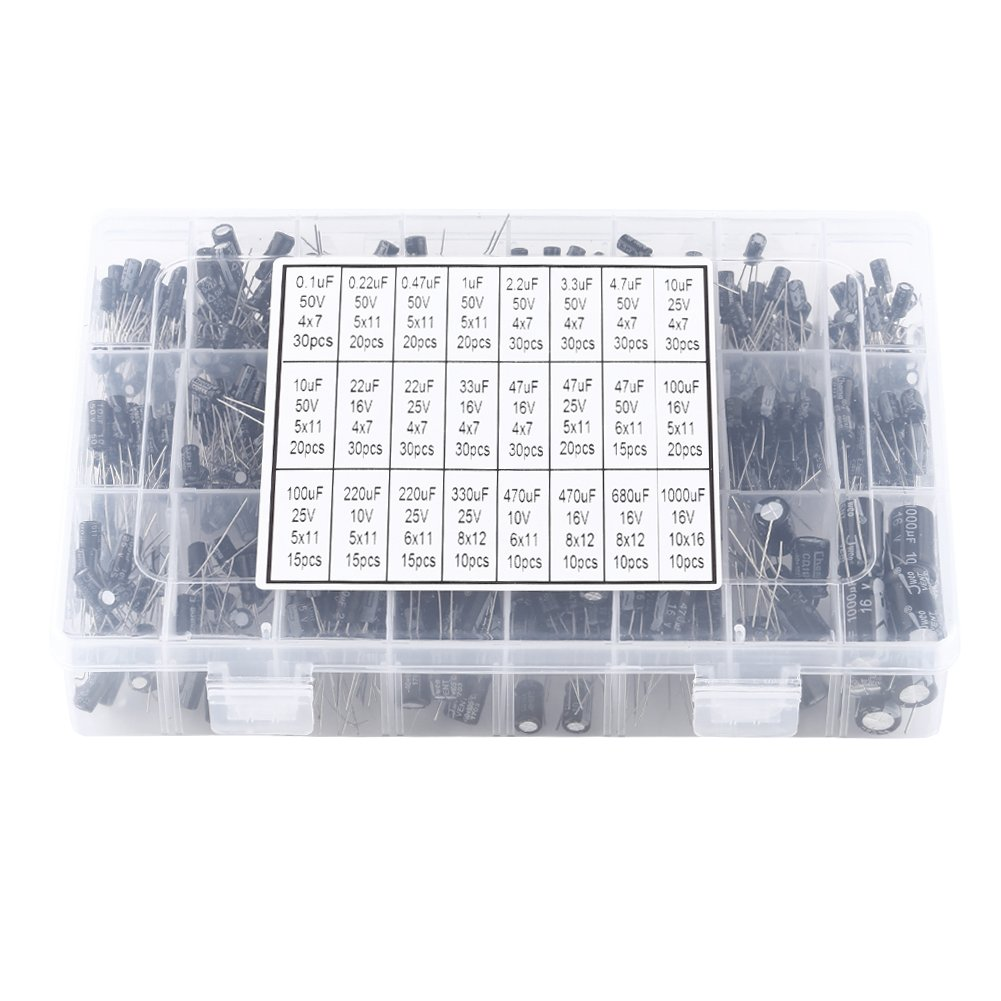 Electrolytic Capacitor, Asixx 500pcs 24 Values Aluminum Electrolytic Capacitor Assorted Kit 10V~50V 0.1uF to 1000uF for a Wide Range of Electronic Applications and DIY