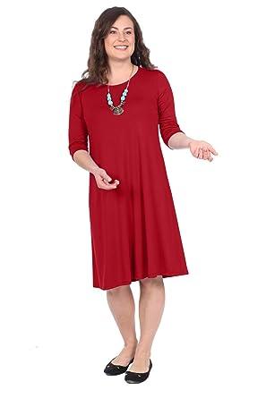 9607c3da8f26 Kosher Casual Women's Modest Knee Length Lightweight T-Shirt Dress with 3/4  Sleeves