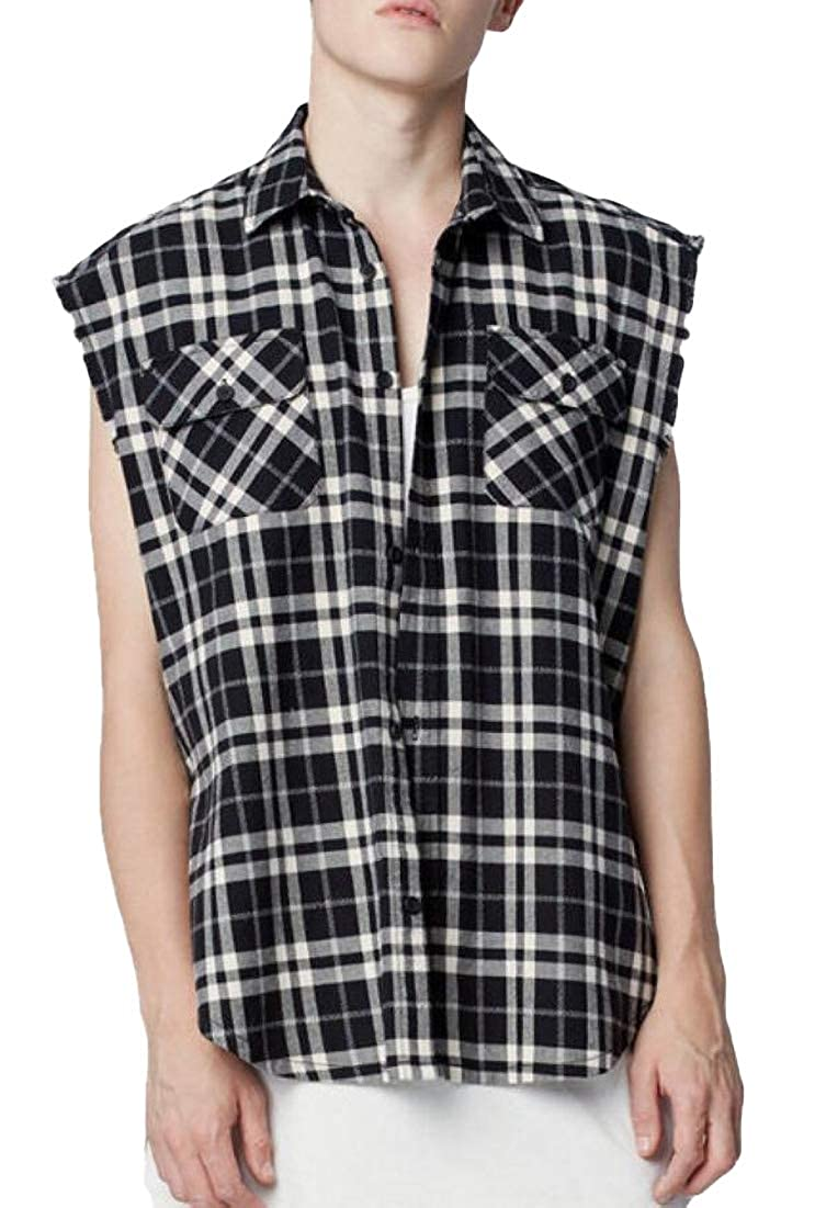Men Fashion Sleeveless Check Button-Down Collar Casual Plaid Shirt Tops