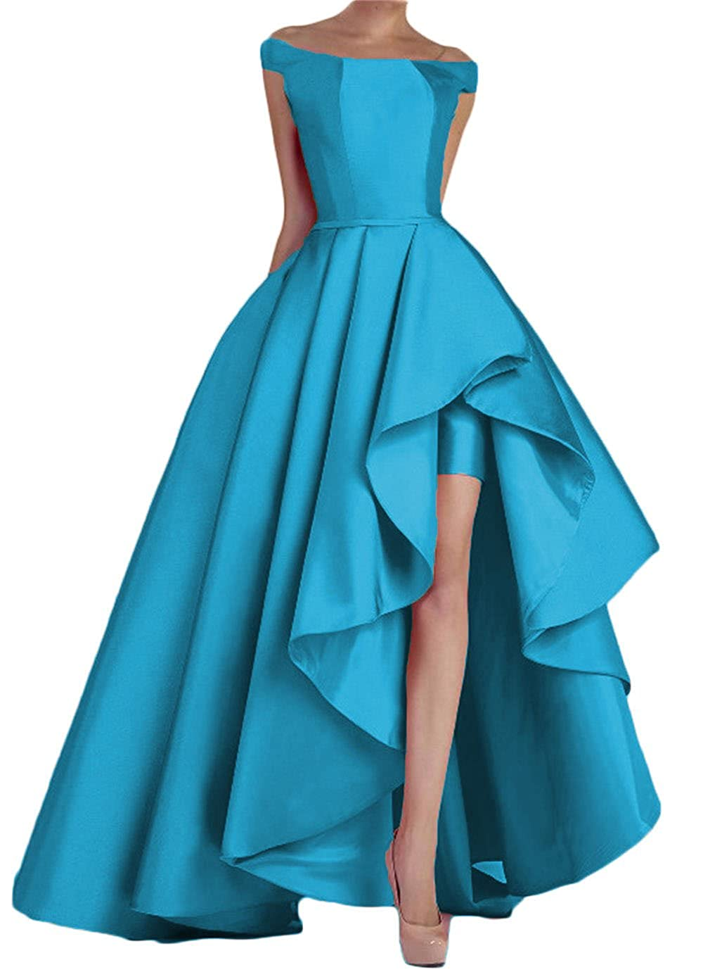bluee Dydsz Women's Off Shoulder Long Evening Prom Dresses Plus Size Formal Gowns D22