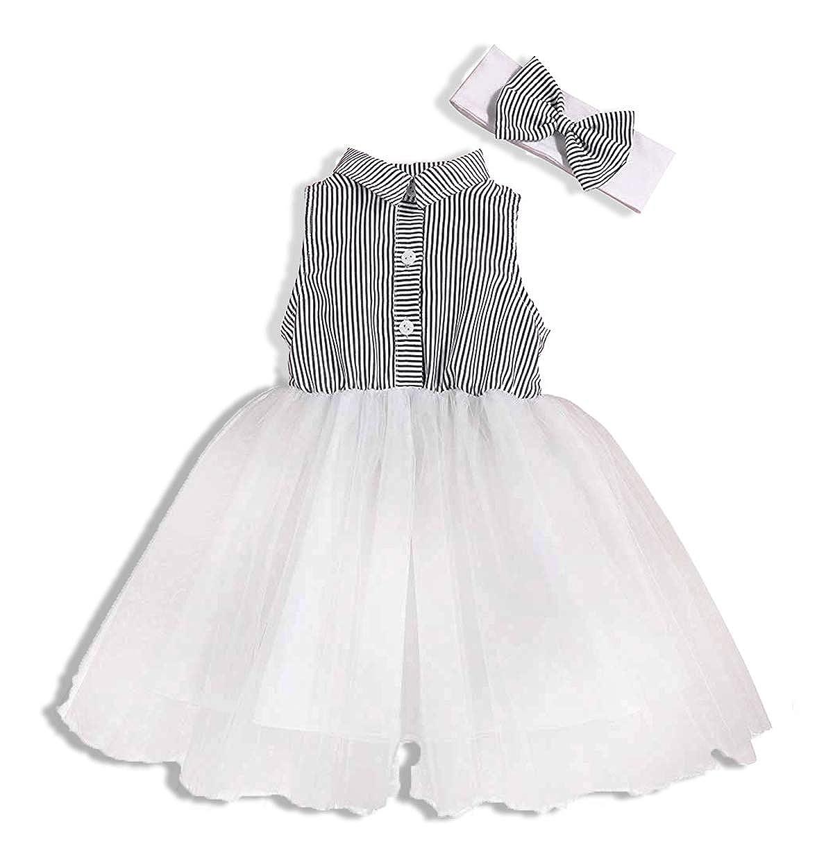Black Stripe Tutu Skirt Tulle Dress Bubble Skirt with Headband Summer Clothes Baby Girl Skirt Sleeveless White White, 2-3 Years