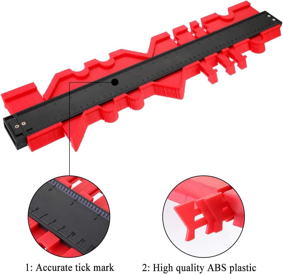 Contour Gauge Duplicator Profile Measuring Tool Plastic Woodworking Shape Tracing Template Contour Copy Duplicator 9.8in//25cm, Green Circular Frame Profile Gauge Ruled