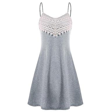 Vestido corto mujer, Amlaiworld Vestido de playa para mujer Mini vestido sin cordones de encaje de croché de mujer Vestido camisero sin mangas niña: ...