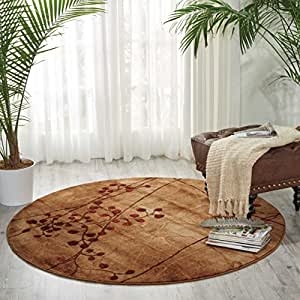 "Nourison Somerset (ST74) Latte Round Area Rug, 3-Feet 6-Inches by 3-Feet 6-Inches (3'6"" x 3'6"")"