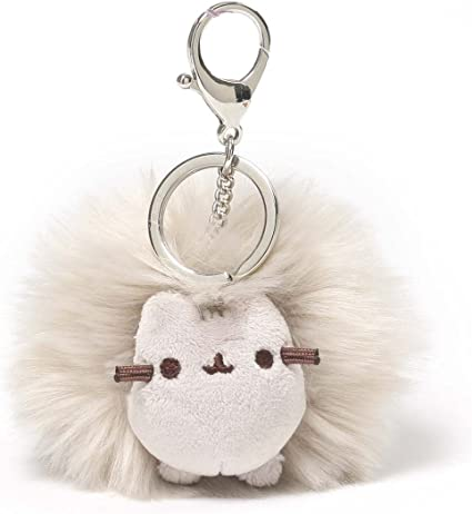Plush Keychain Accessorie GUND Grey Pusheen the Cat Pom Pom Keyring Bag Clip