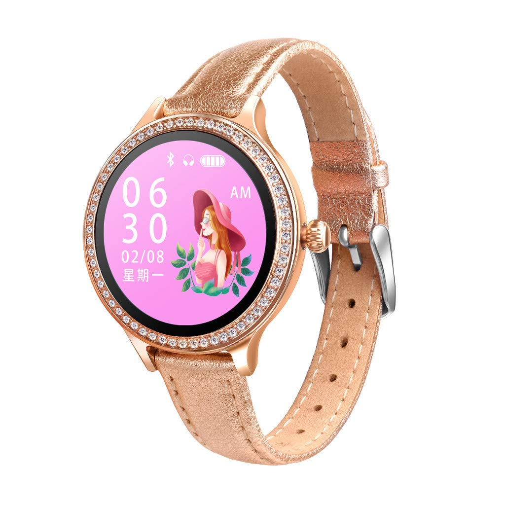 CZYCO Female-Only Luxury Leather Strap M8 Smart Watch Women Heart Rate Monitor Blood Pressure Electric Reminder Watch (C) by CZYCO