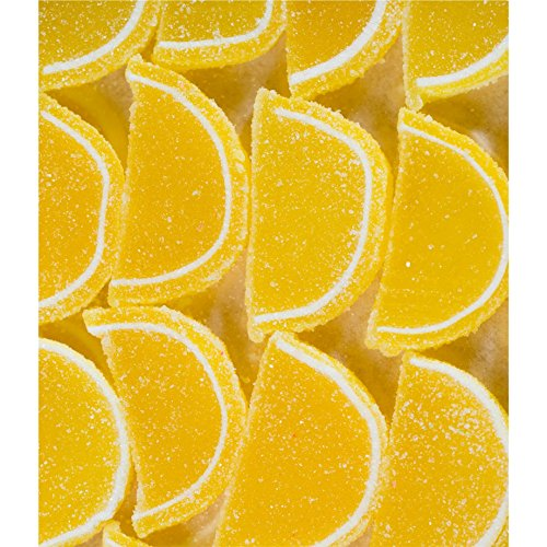 FirstChoiceCandy Yellow Lemon Fruit Jell Slices Gummy 1 LB - 16 oz In a Resealable Gift - Bags Lemon Slice