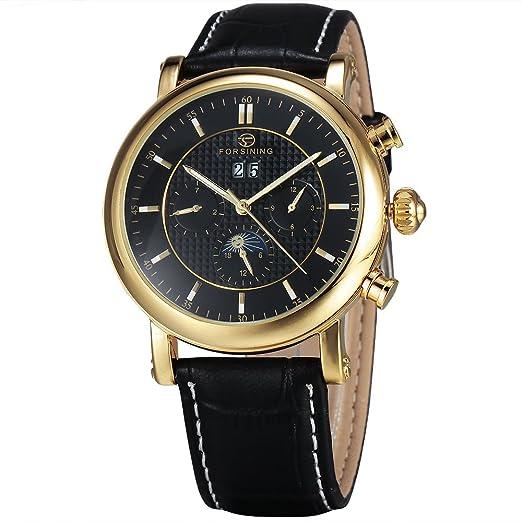 2017 Forsining Simple marca hombre Fashion relojes Casual mecánico automático correa de piel reloj luna fase pantalla: Amazon.es: Relojes