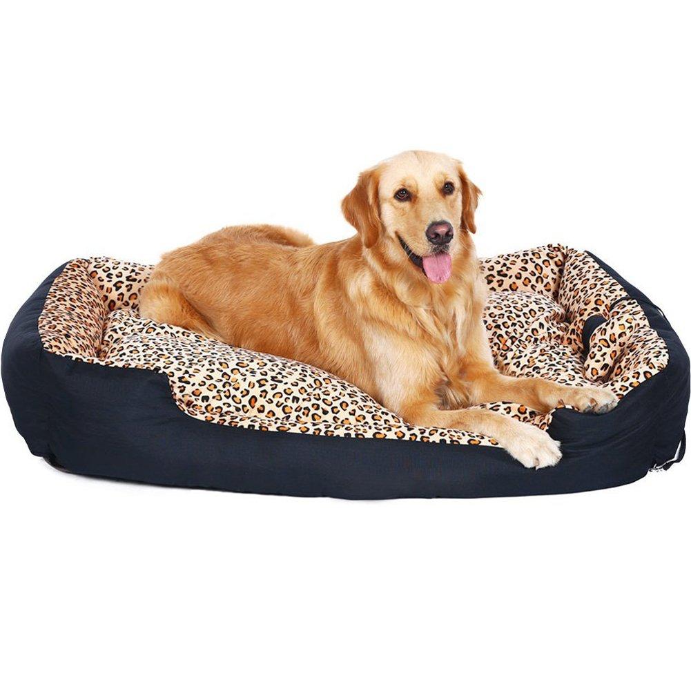 M Da Jia Inc Premium Quality Wild Leopard Print Washable Pet Dog Bed(M)