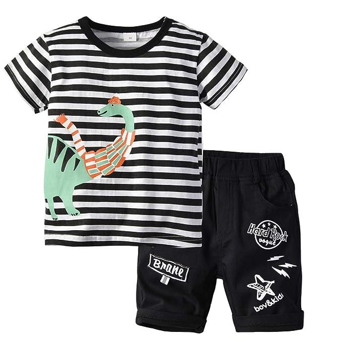 Coralup Little Boys Girls Dinosaur T-Shirts Kids Summer Short Sleeve Tops 18Months-6Years