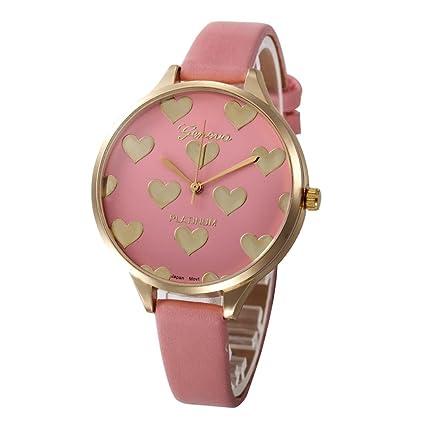 Relojes Mujer,Xinan Reloj de Pulsera Analógico de Cuarzo Cuero Imitación (Rosa)