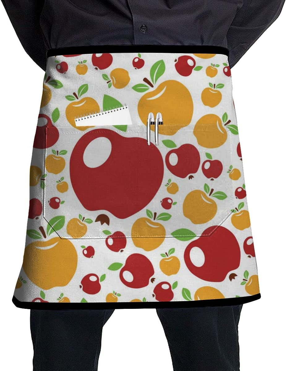 Apple Pattern Kitchen Waist Apron Home Half Waist Cooking Grilling Bib Aprons with Pocket