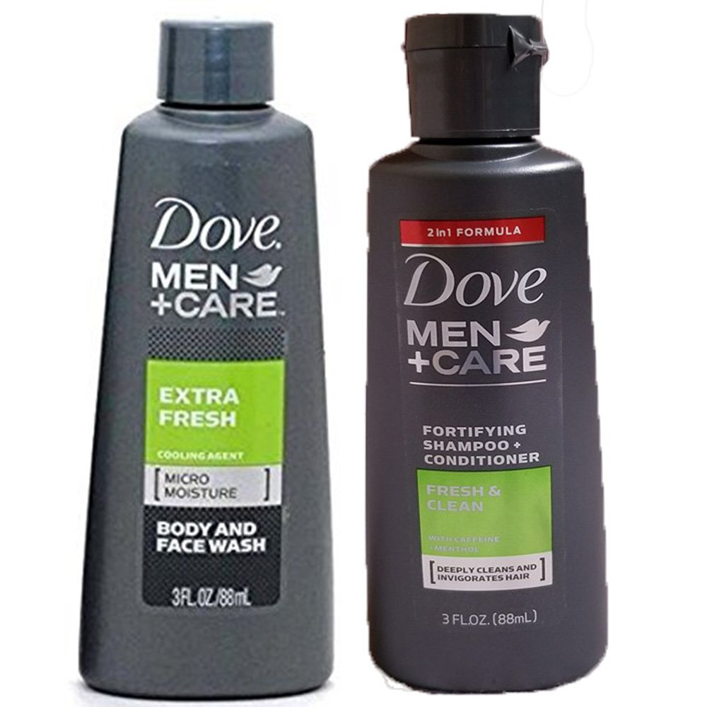 Dove Men + Care Bundle Extra Fresh Body & Face Wash and Fortifying Shampoo & Conditioner 3oz. Travel sizes